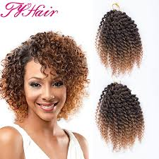 Curly Hair Braid Extensions by Ombre 8inch 3pcs Set Marlybob Crochet Braids Hair Curly Synthetic