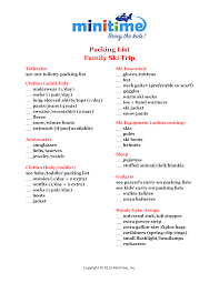 what to pack family ski trip free printable packing lists