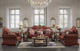 Red Round Coffee Table - graceful victorian style sofas in red colors with ornate and