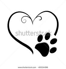 dog paw prints heart symbol tattoo stock vector 465534566