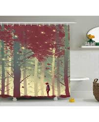 shower curtain fall forest leaves print for bathroom