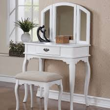 Vanity Makeup Desk With Mirror Rectangular White Wooden Single Drawer Vanity Makeup Table And