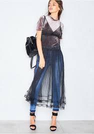 rihanna black sheer pleated overlay dress missy empire
