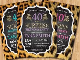 40th birthday invitation for women leopard print animal