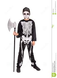 Skeleton Costumes For Halloween by Boy In Halloween Skeleton Costume Stock Photo Image 50032422