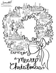 christmas wreath coloring pages free advent pdf bow holding