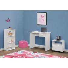 contemporary 3 piece youth desk set with bookcase u0026 mobile storage
