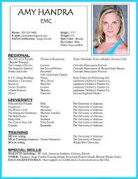 Resume Template For Actors by Actor Resume Format Lidazayiflama Info