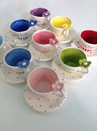 tea cup favors bright colored child size personalized tea cup and saucer party