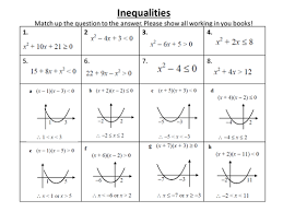 solving quadratic inequalities worksheet by marcopront teaching