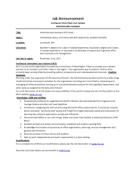 announcement nics admin assistant administrative sle