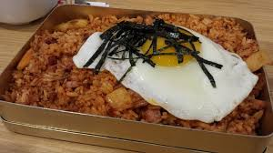 kimchi fried rice in traditional lunch box yelp