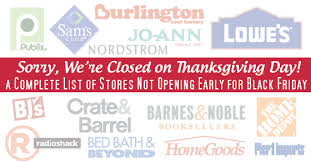 list of stores closed on thanksgiving day 2016