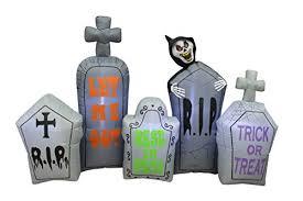 7 foot long lighted halloween inflatable tombstones pathway scene
