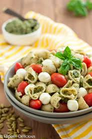 gluten free pasta salad with pumpkin seed pesto