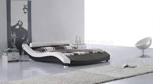 Modern White Bed Frames Black U0026 White Leatherette Modern Bed W Bolster Shape Headboard