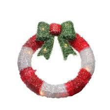 16 lighted tinsel and white wreath with bow window