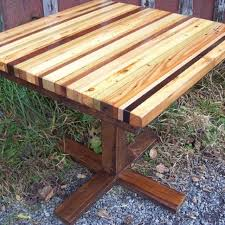 buy a hand made butcher block kitchen table with reclaimed wood
