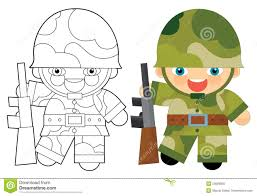cartoon character soldier coloring page stock illustration