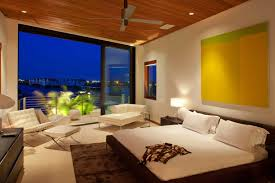modern bedroom color schemes with lovely purple wall painting with