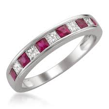 ruby band 14k white gold princess cut diamond and ruby wedding band ring
