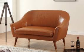 Colorful Chair Loveseats Gabe Mid Century Bonded Leather Loveseat Sofamania Com