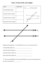 transversals parallel lines and discovering angle properties i