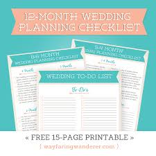 wedding checklist book wayfaring wanderer 12 month wedding planning checklist free