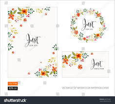 Sport Invitation Card Vector Set Invitation Cards Watercolor Flowers Stock Vector