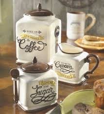 canister kitchen set coffee themed canister sugar bowl creamer kitchen decor