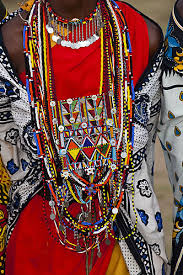 africa details of the colour beadwork of the masai women kenya