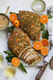herb orange turkey breast with roasted pear gravy