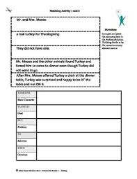 turkey for thanksgiving by bunting activities and test questions