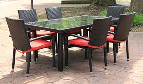 piece black resin wicker outdoor furniture patio dining set red