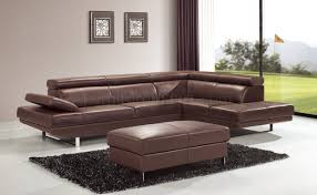 Leather Chair Modern Living Room Leather Modern Sectional Sofa In Brown With Wall