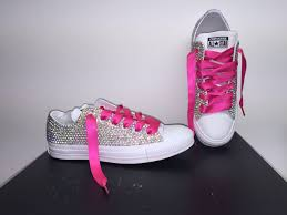 pink star diamond star converse in mono white bedazzled in ab diamond crystals with