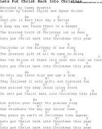 christmas carol song lyrics with chords for lets put christ back