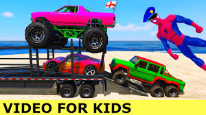 monster truck kids videos colors cars and monster truck transportation with spiderman