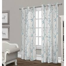 corfu sheer curtain panel white u0026 teal 84 in at home at home