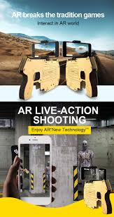 diy wooden 3d reality ar games bluetooth toy gun with cell phone