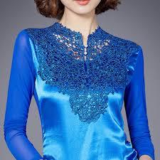 plus size silk blouse lace patchwork silk blue blouse plus size s 3xl model