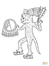 aztec jaguar warrior coloring page free printable coloring pages