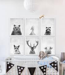 Woodland Animals Nursery Decor Six Animal Prints Boys Nursery Room Ideas Woodland Animals