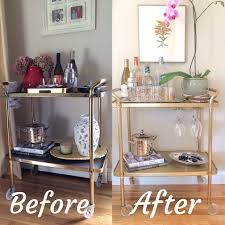 vintage bar cart makeover using rust oleum metallic gold spray