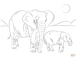 african elephant family coloring page free printable coloring pages