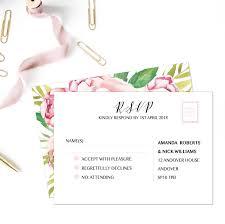 Wedding Invitation Rsvp Cards Floral Rsvp Cards Wedding Response Cards Watercolour Rsvp Cards