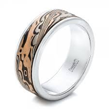 white gold wedding ring custom men s white gold and mokume wedding band 102114