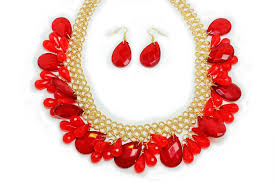 red necklace set images Caprice cluster necklace set red gold all frills beauty and jpg