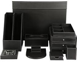 slk wood products all wood and leather office desk organizer set
