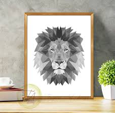 lion print black and white print lion tribal art lion print black and
